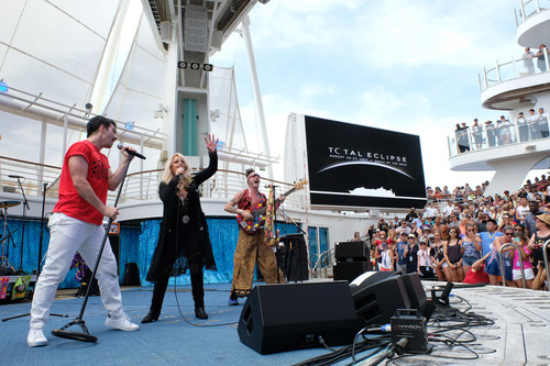 """Royal Caribbean's Oasis of the Seas was the only place on Earth to see legendary songstress Bonnie Tyler and multi-platinum selling band DNCE perform a never-before-heard duet of the iconic '80s power ballad, """"Total Eclipse of the Heart."""""""