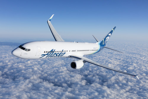 Rendering of an Alaska Airlines 737 with the low-profile Gogo 2Ku antenna mounted to the top of the fuselage, behind the wing.