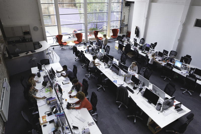 One aspect of a flexible workspace, an open floor plan can stimulate creative collaboration.
