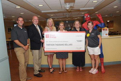 Direct Energy presented a $13,000 check to Pamela Cornforth, the President and CEO of the Ronald McDonald House, as part of an ongoing partnership where Direct Energy makes a cash donation for each Delaware resident who switches their energy supplier to Direct Energy.