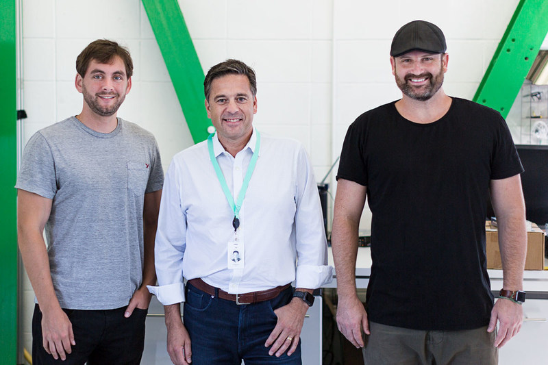 (L-R) Jesse Levinson, Co-Founder and CTO, Gonzalo Rey, and Tim Kentley-Klay, Co-Founder and CEO at Zoox Headquarters in August.