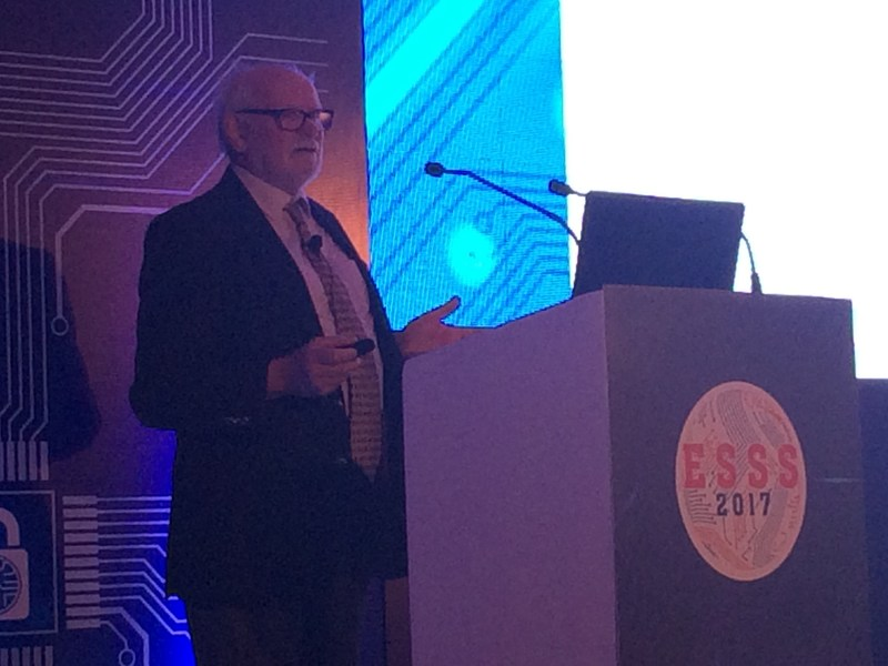 Dr. Mike Hennell, Founder and Technical Director, LDRA UK addressing the inaugral keynote session of Embedded Safety and Security Summit (ESSS) 2017 (PRNewsfoto/LDRA Technology Private Limited)