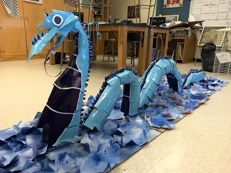 The 2016 Made by Milk Contest Grand Prize Winner: A SLURPIT serpent carton creation made by Paulsboro High School students in Paulsboro, New Jersey. Last year's contest theme was 'Inventions'; a SLURPIT is a water-cleaning biofilter invention used to absorb and digest oil and pesticides in waterways. The SLURPIT serpent was made from 274 repurposed milk cartons.