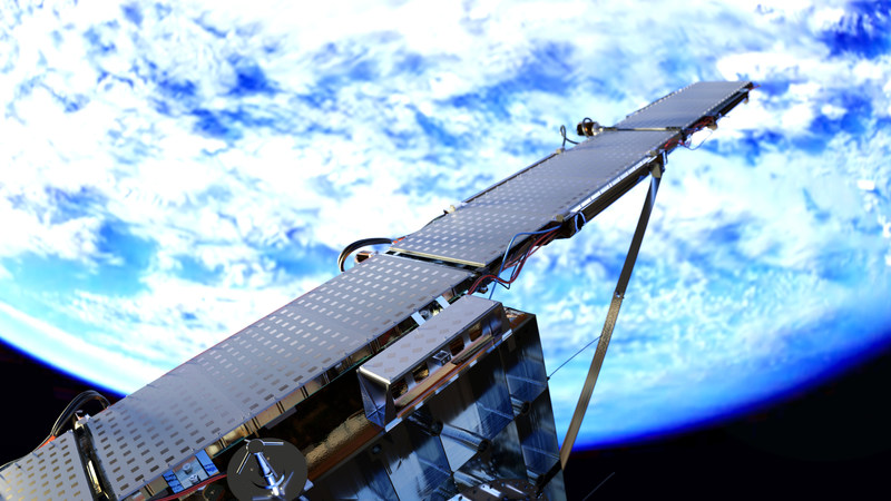 An ICEYE rendering of the first SAR microsatellite deployed in orbit.