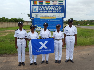 Nicholine Tifuh Azirh alongside her peers at the Regional Maritime University, Mercy Brew, Evalove Lartey, Michelle Oduro-Amoateng and Noami Anderson