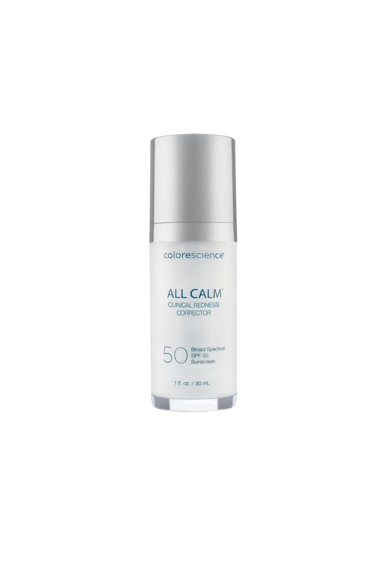 All Calm Clinical Redness Corrector from Colorescience helps neutralize redness, soothe sensitive skin, and provides SPF 50 sun protection. Available Colorescience.com.