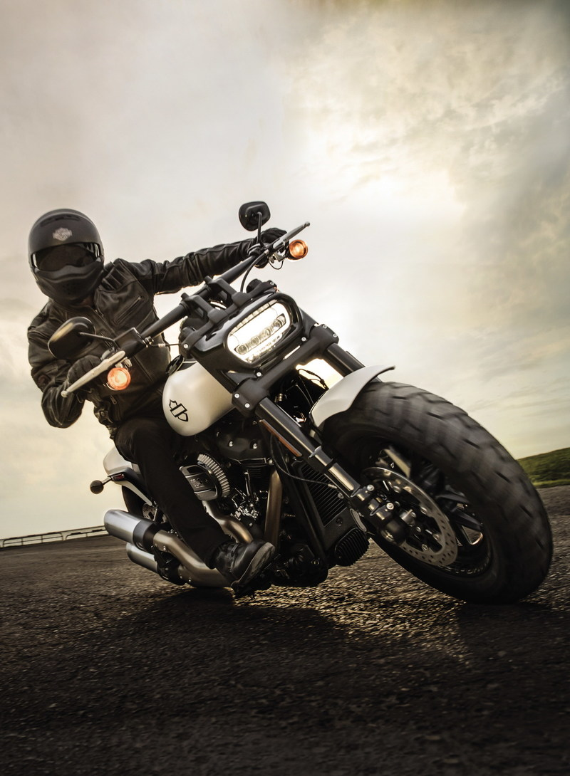 The new bold and fearless 2018 Harley-Davidson Fat Bob features aggressive, unapologetic styling, asphalt-eating traction, pothole-devouring suspension, premium finishes, and your choice of the powerful Milwaukee-Eight™ 107 or 114 Big Twin Engine.