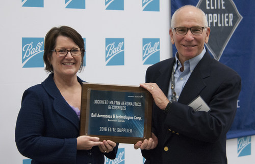 Pictured: Rob Freedman, vice president and general manager, Tactical Solutions, Ball Aerospace and Janet Duffey, vice president, Supply Chain Management, Lockheed Martin Aeronautics.