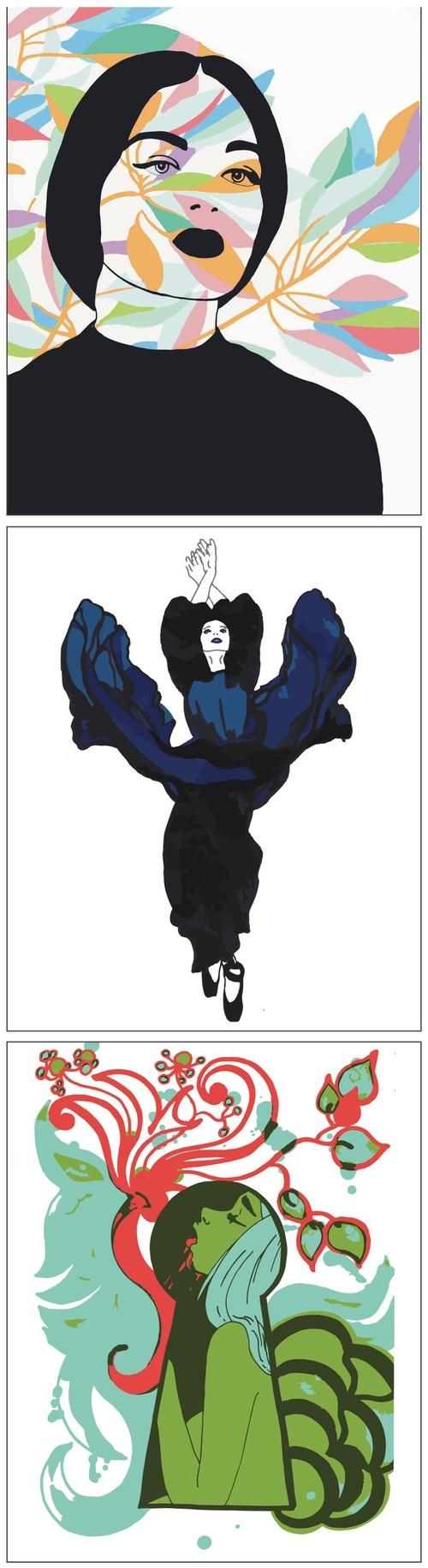 Artist, Kristin Burnett - Atmospheric, Black to Blue, Quaaludes - Ink on vellum / Digital print on canvas - 16 in x 20 in (40.64cm x 50.8cm) - $120.00 ea. @ BLICK Art Materials, Beaverton, OR