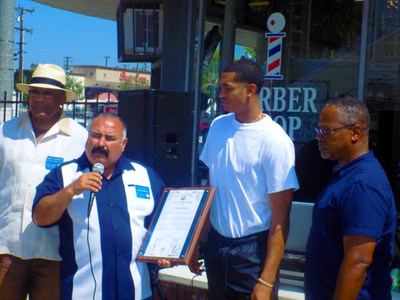 August 13, 2017: Los Angeles Laker, Jordan Clarkson receives Special Commendation Award from the City of Inglewood District Councilman, Alex Padilla at the Back To School Give Back Event for the kids of Inglewood, CA. (From Left to Right) 2nd District Councilman - Alex Padilla, Los Angeles Laker - Jordan Clarkson, Planning Commissioner - David Rice