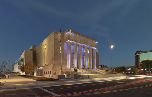 Little Rock's Robinson Center at twilight.  This historic National Register structure went through a complete reimagining, and reopened last November after completing a 28-month, $70 million renovation, restoration and expansion.  It consists of a state-of-the-art performance hall and a new conference center addition.  The Little Rock Convention & Visitors Bureau announced that this project had achieved LEED Gold certification at a press conference held on August 22, 2017.