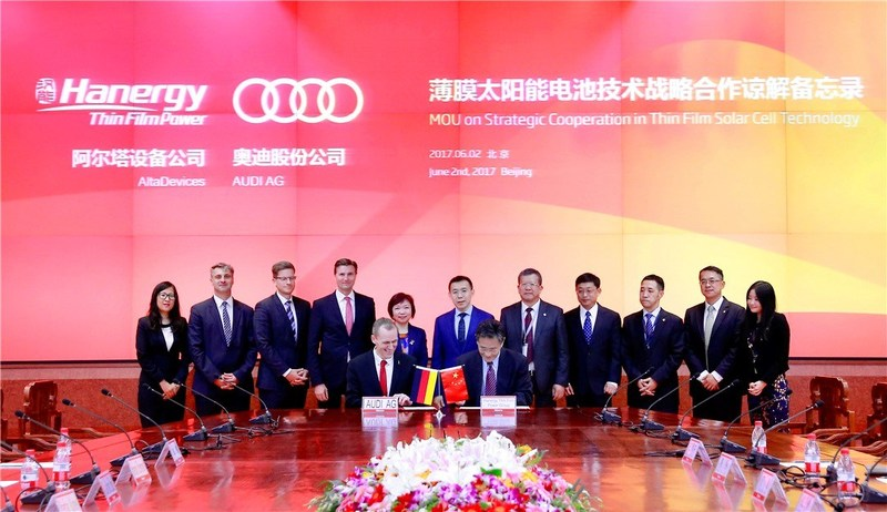 Hanergy y Audi firman un Memorando de entendimiento sobre cooperación estratégica (PRNewsfoto/Hanergy Thin Film Power Group L)