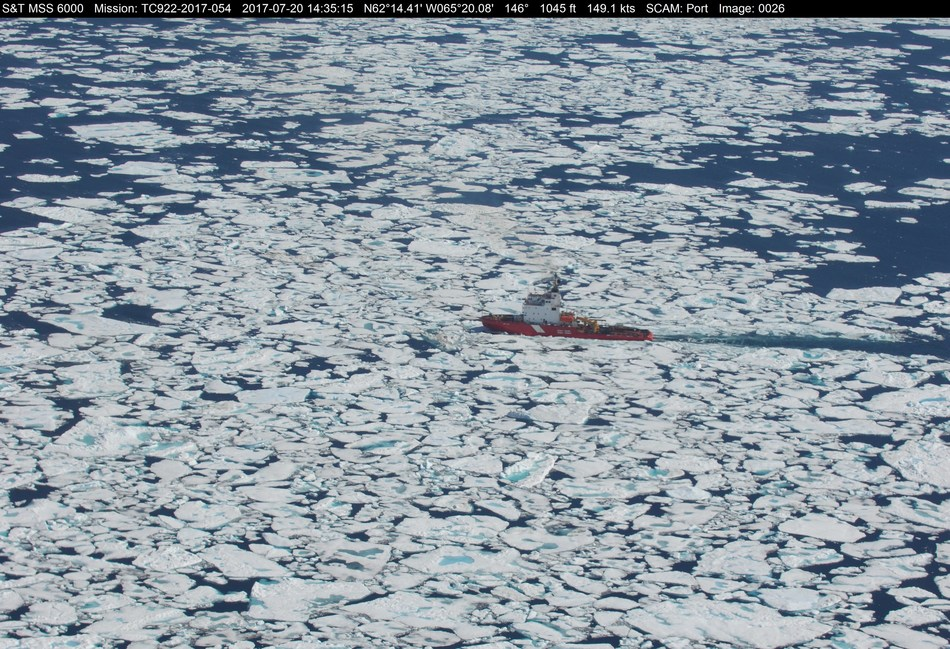 CCGS Terry Fox in Baffin Bay on July 20, 2017, escorting M/V TAÏGA DESGAGNÉS. Photo credit: Marine Aerial Reconnaissance Team (Central & Arctic), Canadian Ice Service, Environment and Climate Change Canada (ECCC) (CNW Group/Fisheries and Oceans Central & Arctic Region)