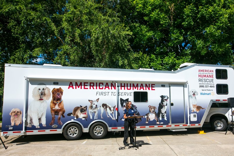 One year after the disastrous floods, American Humane delivered a giant gift of hope to Louisiana's animals in the form of a new 50-foot rescue vehicle made possible with the generous support of the Walmart Foundation and television personality Ellen Degeneres.