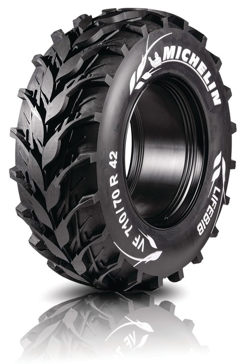 Michelin LifeBIB is the agricultural tire of the future — the genesis of the next Michelin innovation - is designed to support future tractors and combines, this concept focuses on Michelin expertise on productivity and soil fertility.