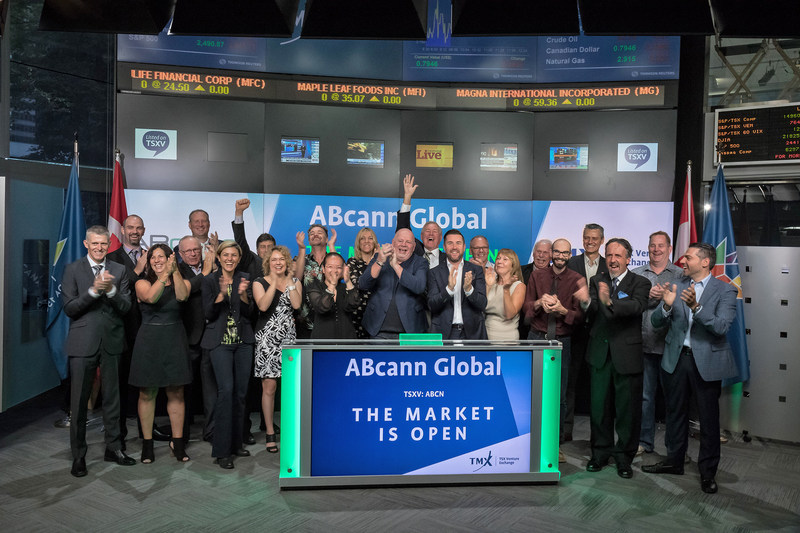 Ken Clement, Founder and Executive Chair and Aaron Keay, CEO, ABcann Global Corporation (ABCN), joined Tim Babcock, Director, Listed Issuer Services, TSX Venture Exchange to open the market. ABcann Global is licensed by Health Canada under the Access to Cannabis for Medical Purposes Regulations (ACMPR). ABcann's flagship facility, in Napanee, Ontario, contains proprietary plant-growing technology, including environmentally-controlled chambers capable of monitoring and regulating all variables in the growing process. ABcann Global Corporation commenced trading on TSX Venture Exchange on May 4, 2017. (CNW Group/TMX Group Limited)