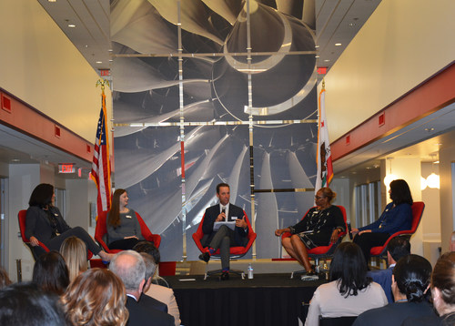 """Panelists for the """"Women in Aerospace"""" roundtable at Meggitt Control Systems in Simi Valley were (left to right): Dolores Watai, Vice President of Finance; Karlyn Eoff, Director of Program Management; U.S Congressman Steve Knight (CA-25); Greer Bosworth, Assistant General Counsel and Sarah Bergagnini, Systems Engineering Manager."""