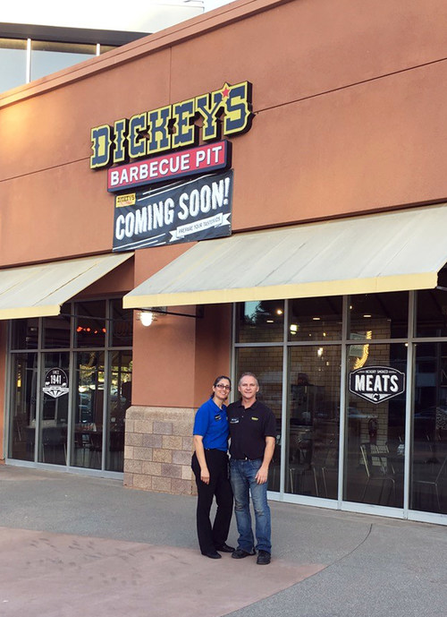 Dickey's franchisees Michael and Margarita Tucker open their newest location in San Diego.