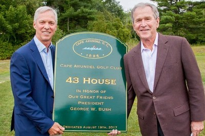 Club President J. Pierce O'Neil and President George W. Bush celebrate the naming of 43 House at Cape Arundel Golf Club's expanded Members-only Practice and Teaching Facility along the Kennebunk River in Kennebunkport, Maine.