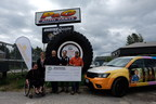 The Sunshine Foundation of Canada receives a donation of $54,528 at the Tire Take Back event, held at P&G Auto Parts. From left to right: Sarah Lashbrook, a Sunshine Alumni, Heidi Spannbauer of The Sunshine Foundation of Canada, Darrell Pitman of P&G Auto Parts, Steve Fletcher of Ontario Automotive Recyclers Association and Chris Pitman of P&G Auto Parts. Photo credit: Shawn Moreton Photography. (CNW Group/Ontario Tire Stewardship)