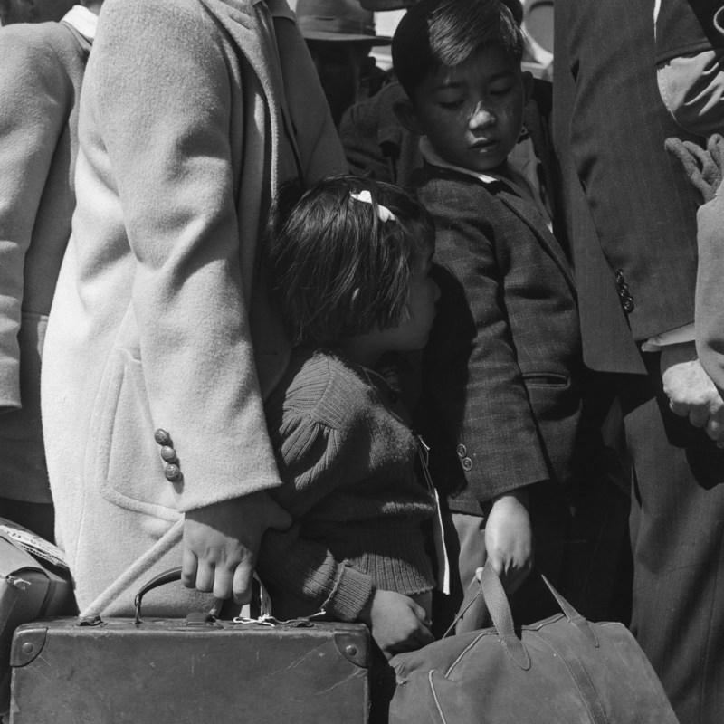 Children waiting for the bus which will take them from their homes to an internment camp. Photo by Dorothea Lange. Anchor Editions is donating half of the sales of these prints to organizations fighting for immigrant rights.