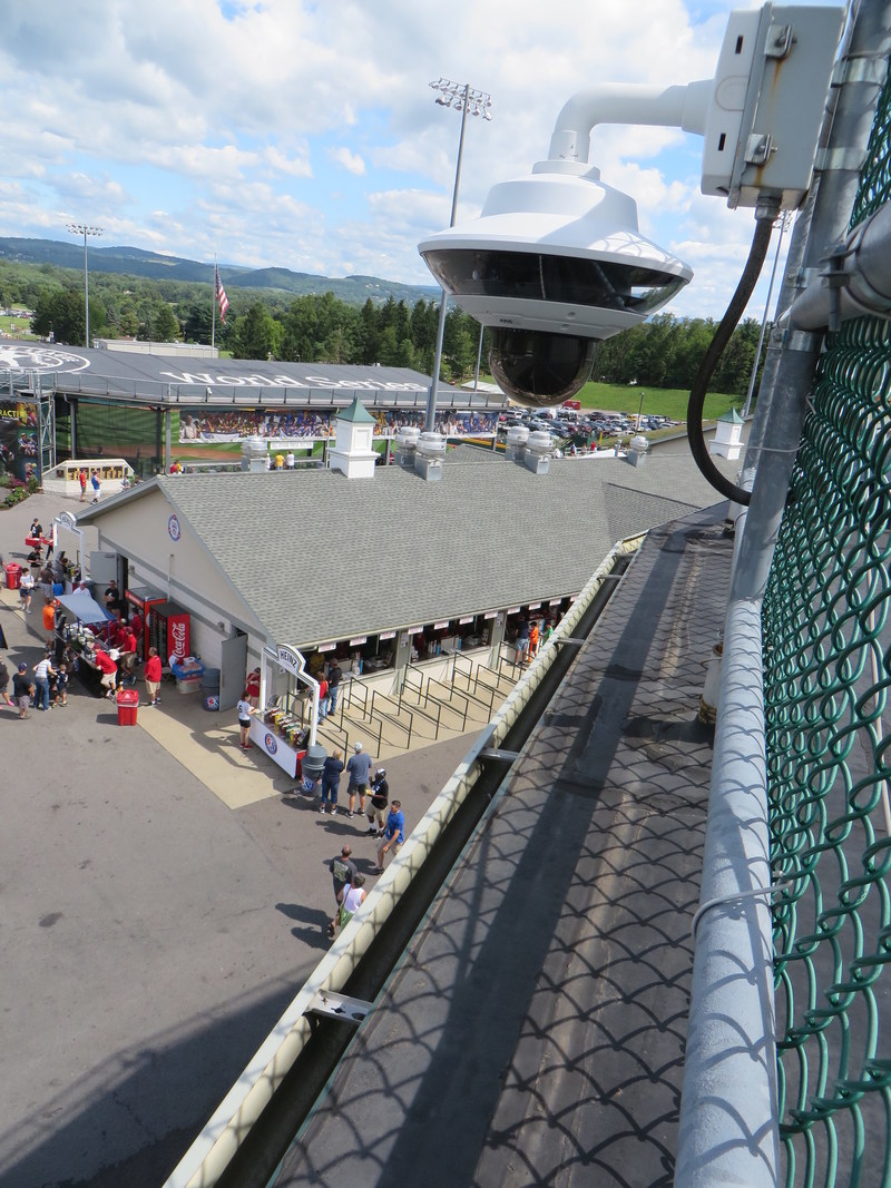 AXIS Q6034-E PTZ Dome Network Camera 'watching' the concourse between stadiums at the Little League World Series in Williamsport, PA.