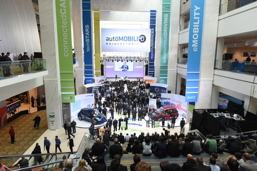 Crowds gathered during the 2017 AutoMobili-D as part of the North American International Auto Show.
