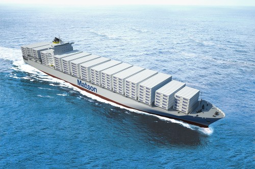 Artist rendition of Matson's Aloha Class containership. The first vessel to arrive in 2018 is to be named Daniel K. Inouye. (PRNewsFoto/Matson, Inc.)