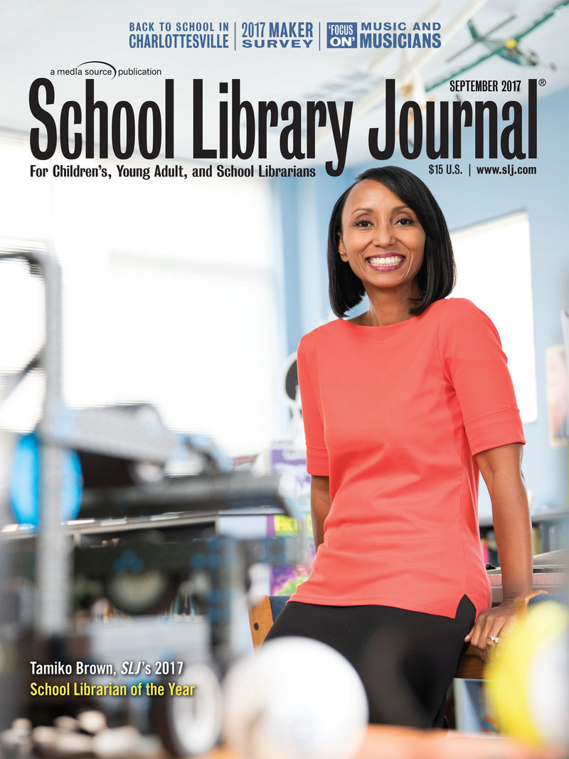School Library Journal and Scholastic have named Tamiko Brown of Ed White E-STEM Magnet School in El Lago, TX the winner of the 2017 School Librarian of the Year Award.  (Photo by Felix Sanchez for School Library Journal)
