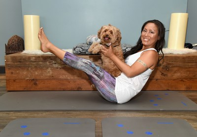 Founder of Doga Alchemy Stephanie Kang and Daisy at Natural Balance Pet Foods announce new formula with Lance Bass and Downward Dogs - Literally - at The DEN Meditation on August 23, 2017 in Los Angeles, California.  (Photo by Michael Kovac/Getty Images for Natural Balance)