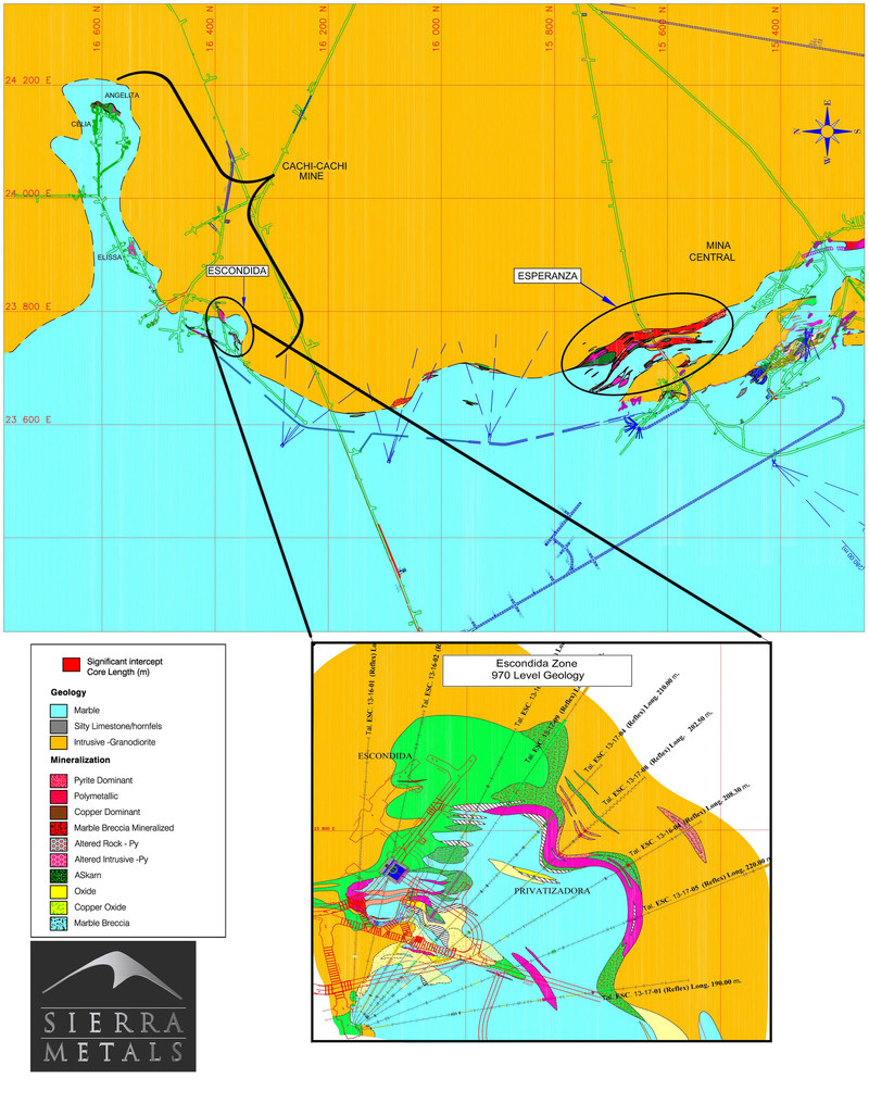 Figure 1 - Plan View – Yauricocha Mine (Central Mine – Cachi-Cachi Mine):   Escondida is a new discovery along the contact zone between intrusive rocks and limestones (CNW Group/Sierra Metals Inc.)