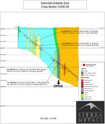 Cross Section-9:  Wide high grade mineralized skarn intercept on drill hole 8 (CNW Group/Sierra Metals Inc.)