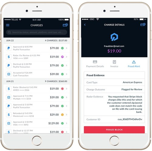 Search and review transactions flagged or blocked by Stripe Radar on iOS and Android devices.