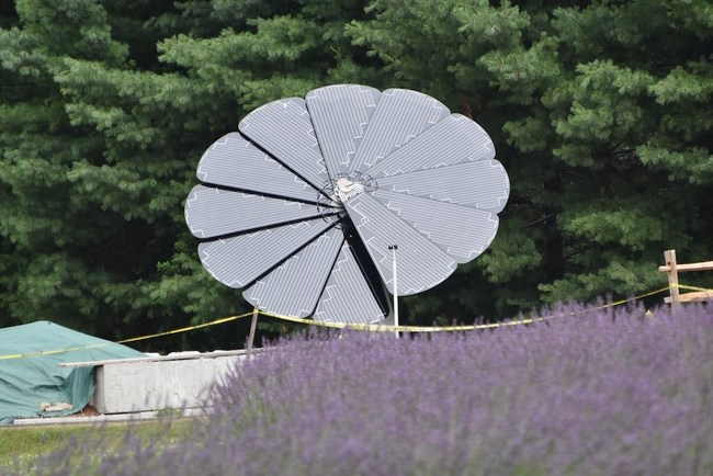 Solar SmartFlower blooms at Lavender Pond Farm, (Killingworth, CT)