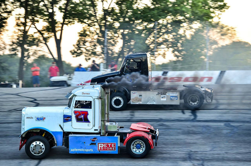 "Tyler Kruckeberg (#54) attempts to pass Darren ""Moe"" Proffitt (#27) at Madison International Speedway, Friday, July 28th, 2017."