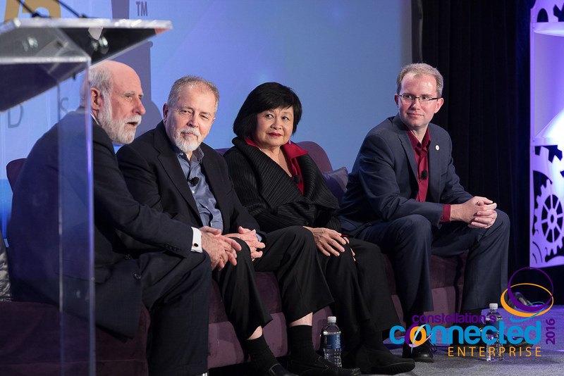 Speaking at the Constellation Connected Enterprise #CCE2016, PCI Chairman Vint Cerf was joined by Doc Searls one of the authors of the ClueTrain Manifesto, Mei Lin Fung co-founder of PCI and early CRM Pioneer, and David Bray, just named incoming Executive Director PCI Sept 2017.
