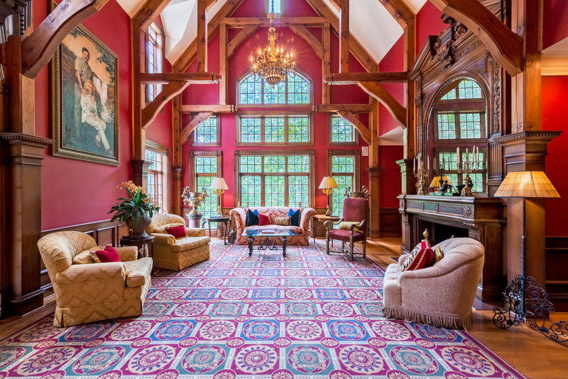 Inspired by centuries-old castles and manors throughout Europe, this luxurious home will be sold at a live auction on September 9, 2017. The property is located in Marietta, Georgia, within the upscale East Cobb area (just 25 minutes from Atlanta). Luxury real estate auction house Platinum Luxury Auctions is managing the sale in cooperation with Coldwell Banker Residential Brokerage in Buckhead, Georgia. Learn more at GeorgiaLuxuryAuction.com. Pictured here: the grand salon.