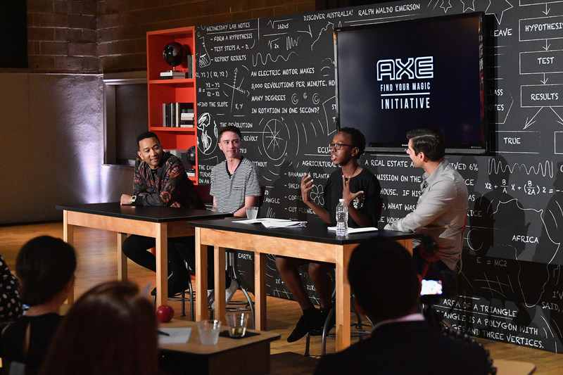 John Legend, Hunter Klugkist, Solomon Mussing and Carlos Andrés Gómez at the announcement of the AXE Senior Orientation program on August 23, 2017 in New York City.