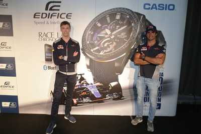 Scuderia Toro Rosso Formula One drivers Carlos Sainz and Daniil Kvyat launch the new EDIFICE Scuderia Toro Rosso Limited Edition EQB-800TR watch at the Belgian Grand Prix