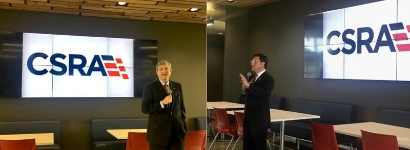 Senator John Kennedy (left) and Congressman Mike Johnson (right) speak to CSRA employees.