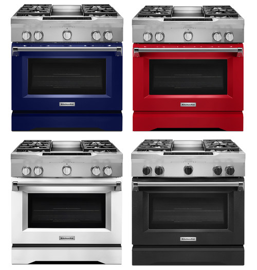 """Following the launch of the brand's popular line of major appliances in the industry-first black stainless finish, KitchenAid is excited to add even more major appliances to the color lineup with the introduction of four new colors to its existing line of 30"""", 36"""" and 48"""" non-steam commercial-style range models."""