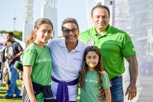 March of Dimes President Stacey D. Stewart and Publix Super Markets Atlanta District Manager, Kourosh walked with his daughters, Angelina (age 11) and Nicole (age 9), at March for Babies in Atlanta on April 22, 2017. For the second year, Publix is the number one national March for Babies corporate partner, raising more than $8.3 million dollars to help give every baby a fighting chance. & The grocer, with stores in seven states, has raised more than $73 million to support the March of Dimes.