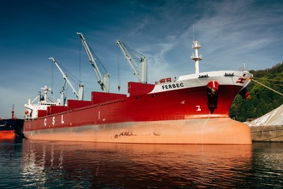 M.V. Ferbec, the largest conventional geared bulk carrier in the Canadian domestic fleet now operating for CSL. (CNW Group/The CSL Group Inc.)
