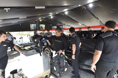 Veteran racer and former Indianapolis 500 champion Juan Pablo Montoya, center, handled the driving duties aboard the ARX-05 throughout the test.