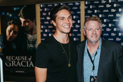 """Actor Chris Massoglia poses for a photo with radio host Dennis Banka of 104.1 """"The Ranch"""" upon discussing the making of Because of Grácia. (Courtesy Jacqueline Justice)"""