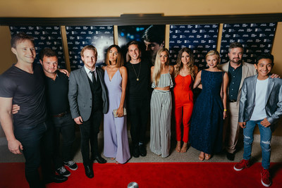 Talent from the forthcoming movie, Because of Grácia pose for a photo on the red carpet at historic Franklin Theatre in Franklin, Tenn., Thursday, Aug. 24. From left to right: Ben Davies, Brett Simes, Maxfield Camp, Moriah Peters, Chris Massoglia, Louisa Wendorff, Masey McLain, Emma Elle Roberts, Mark Smelby and Julian Silvia. (Courtesy Jacqueline Justice)