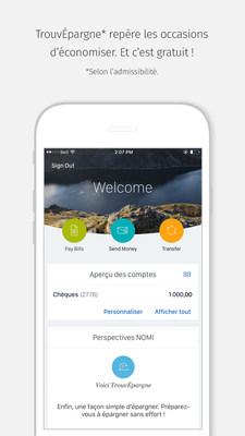 RBC est la première banque au Canada à offrir aux clients un service d'épargne automatique, TrouvÉpargne NOMI, dans l'appli Mobile RBC. (Groupe CNW/RBC Banque Royale)