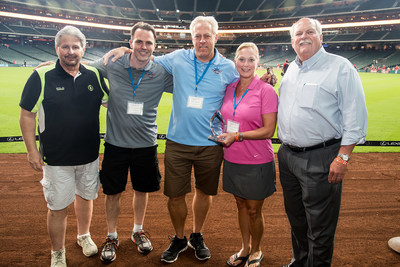 """Bill Justice, Vice President Supply Chain Services (far left), and David Weekley, President/CEO (far right) of David Weekley Homes, present the """"Partners of Choice"""" award to American Bath Group representatives Matt Lawrence, Allen Gernon and Millie O. Scott (2nd, 3rd and 4th from left)."""