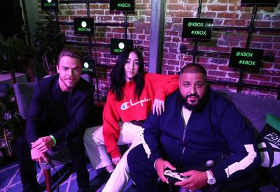 "Derek Hough, Noah Cyrus, and DJ Khaled attend Xbox & DJ Khaled Event at Microsoft Lounge in Venice""  Courtesy of AP Images/Matt Sayles"