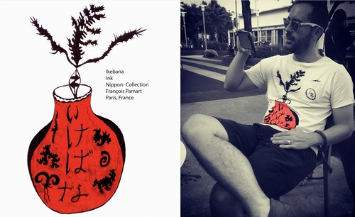 IKEBANA, a work in ink by French artist Francois Pamart, into a lux fashionable T shirt for Men and Women.